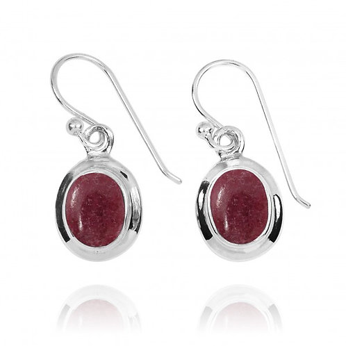 [NEA3272-RDN] Oval Shape Rhodonite Drop Earrings