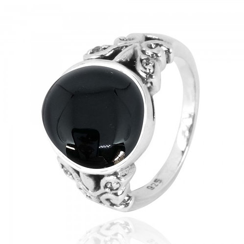 [NRB5096-BKON-WHCZ] Oval Black Onyx Oxidized Silver Ring with Butterflies and cz