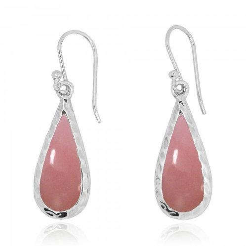 [NEA1898-PPKOP] Raindrop Shape Peru pink opal French Wire Earrings