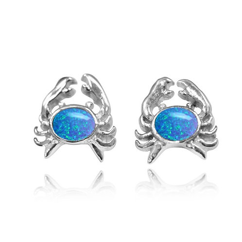 [NES3713-BLOP] Sterling Silver Crab Stud Earrings with Oval Blue opal