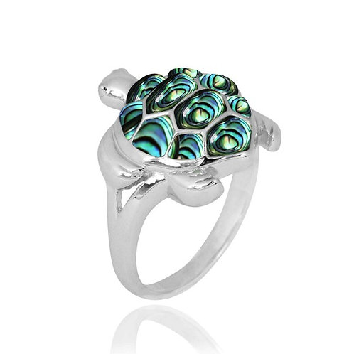 [NRB6917-ABL] Sterling Silver Turtle Ring with Abalon shell