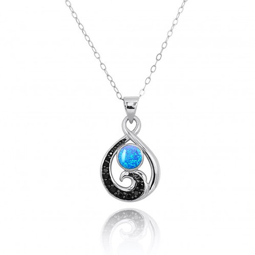 [NP11318-BLOP-BKSP] Sterling Silver Pendant with Black Spinel Wave and Round Blu