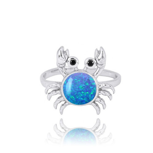 [NRB7822-BLOP-BKSP] Sterling Silver Crab Ring with Blue Opal and Black Spinel