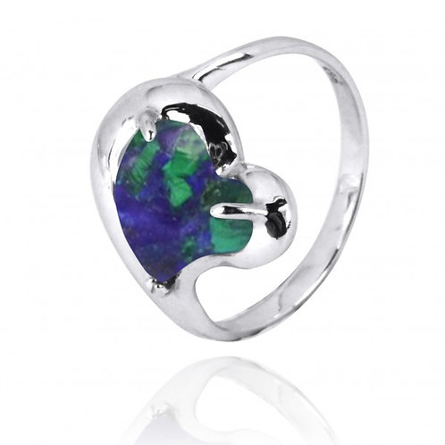 [NRB6639-AZM] Heart Shape Azurite Malachite Cocktail Ring