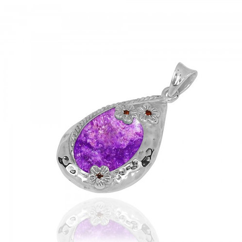 [NP11611-SUG] Sterling Silver Teardrop Pendant with Sugilite and Garnet Flowers