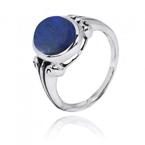 [NRB3631-LAP] Oval Shape Lapis Gemstone Ring