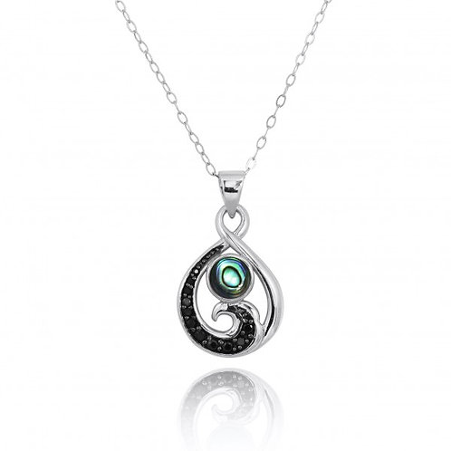 [NP11318-ABL-BKSP] Sterling Silver Pendant with Black Spinel Wave and Round Abal