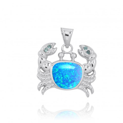 [NP10742-BLOP-LBLT] Sterling Silver Crab Pendant with Blue Opal and London Blue