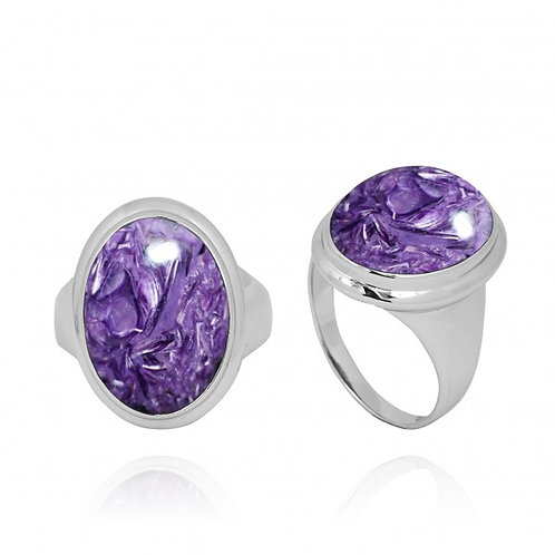 [NRB5495-CHR] Oval Shape Charoite Ring