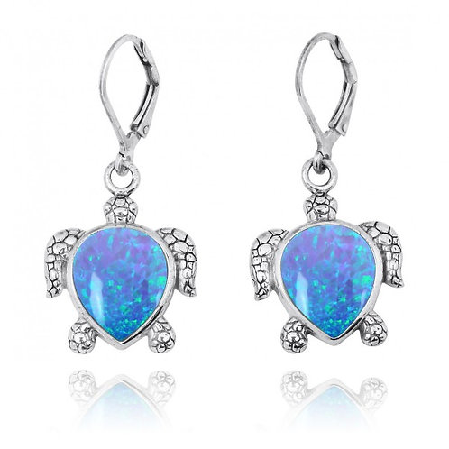 [NEA2793-BLOP] Sterling Silver Turtle Lever Back Earrings with Blue Opal