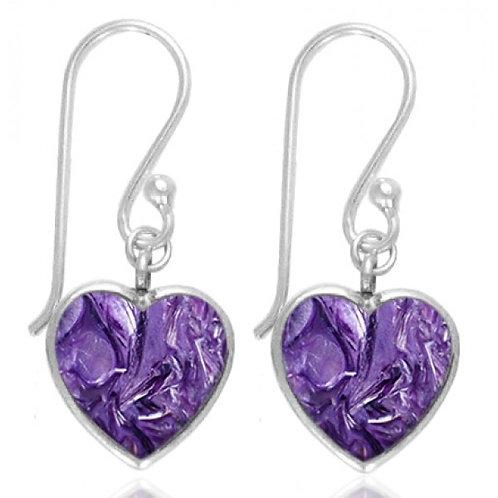 [NEA0242-CHR] Heart Shape Charoite Drop Earrings
