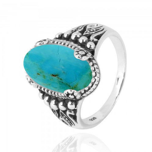 [NRB5215-GRTQ] Oval Shape Compressed Turquoise Gemstone Ring