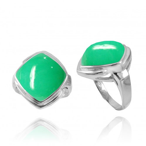 [NRB6809-CRP] Cushion Shape Chrysoprase Gemstone Ring