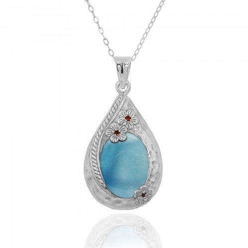 [NP11611-LAR] Sterling Silver Teardrop Pendant with Larimar and Garnet Flowers