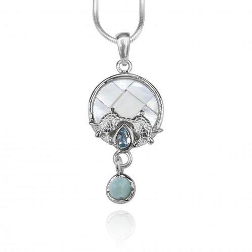 [KPG31-LAR] Round shape larimar , blue topaz , mother of pearl sea turtle pendan
