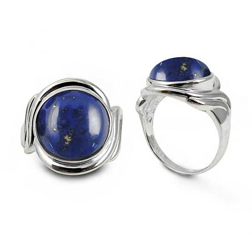 [NRB6617-LAP] Sterling Silver Ring with Round Lapis