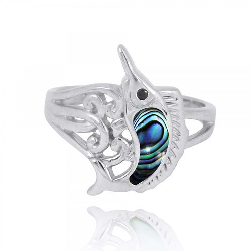 [NRB8361-ABL-BKSP] Sterling Silver Swordfish Ring with Abalon shell and Black