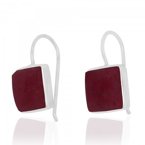[NEA2411-RDN] Cushion Shape Rhodonite Drop Earrings