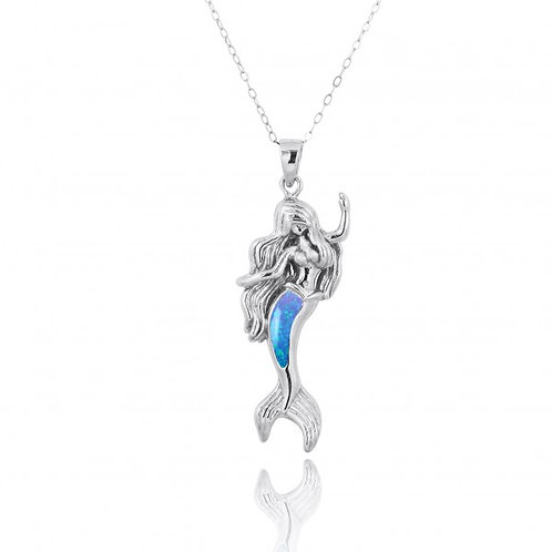 [NP10922-BLOP] Sterling Silver Mermaid Pendant with Blue Opal