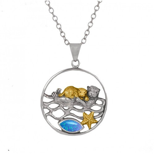 [NP12809-BLOP-G] Mother Otter with Golden Baby Oxidized Silver Pendant with Marq