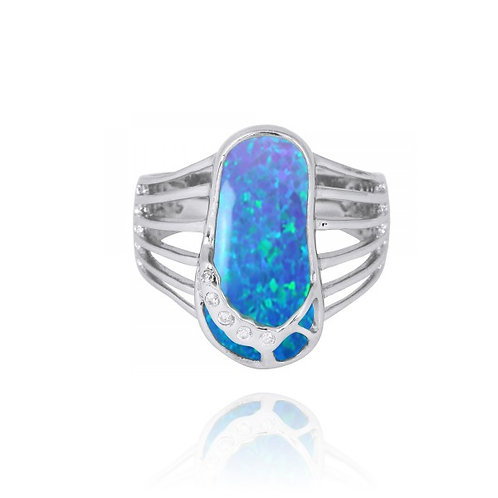 [NRB7784-BLOP] Blue opal Sandal Sterling Silver Ring with White CZ