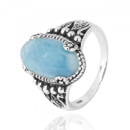 [NRB5215-LAR] Oval Shape Larimar Gemstone Ring