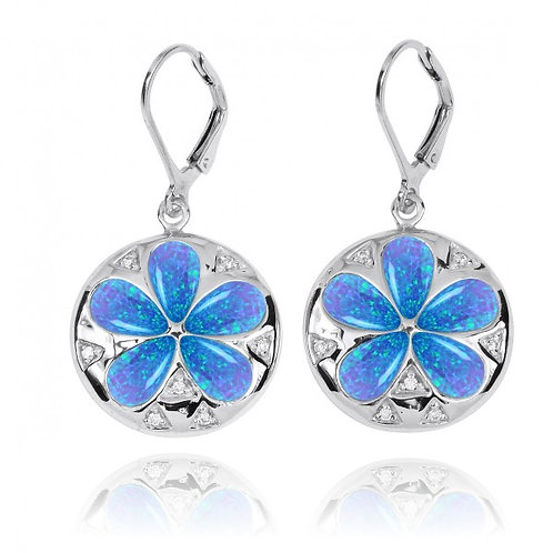 [NEA3224-BLOP-WHCZ] Sand Dollar Lever Back Earrings with Blue Opal and White CZ