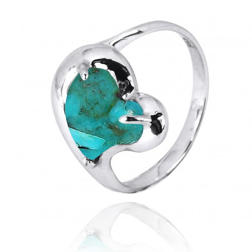 [NRB6639-GRTQ] Heart Shape Compressed Turquoise Cocktail Ring