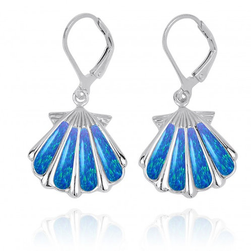 [NEA3254-BLOP] Sterling Silver Shell with Blue Opal Lever Back Earrings
