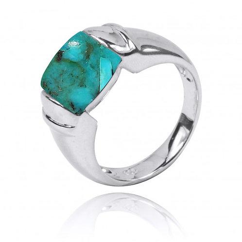 [NRB0764-GRTQ] Cushion Shape Compressed Turquoise Gemstone Ring