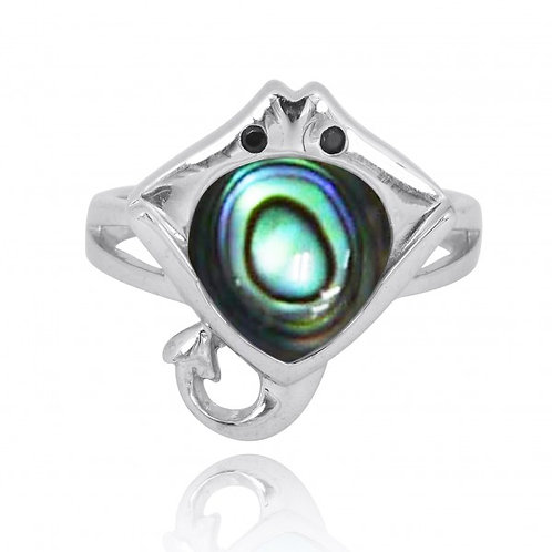 [NRB8369-ABL-BKSP] Sterling Silver Manta Ray Ring with Abalon shell and Black Sp