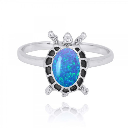 [NRB8293-BLOP] Sterling Silver Turtle Ring with Blue Opal