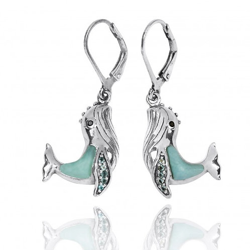 [NEA2795-LAR-SWBLT-BKSP] Sterling Silver Whale with Larimar, London Blue Topaz a