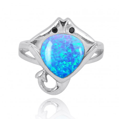 [NRB8369-BLOP-BKSP] Sterling Silver Manta Ray Ring with Blue Opal and Black Spin