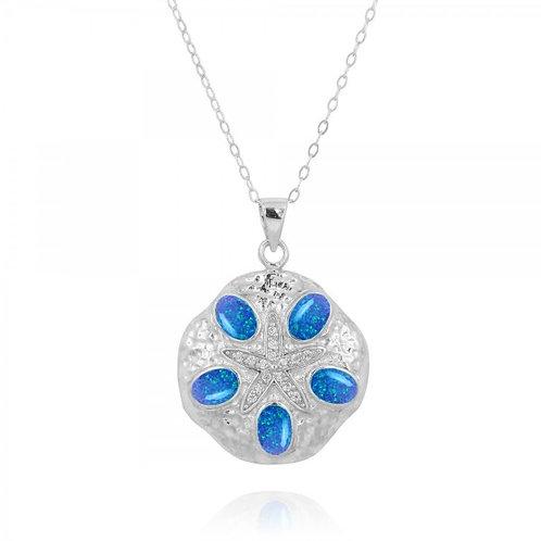 [NP11310-BLOP-WHCZ] Sand Dollar Blue Opal Pendant