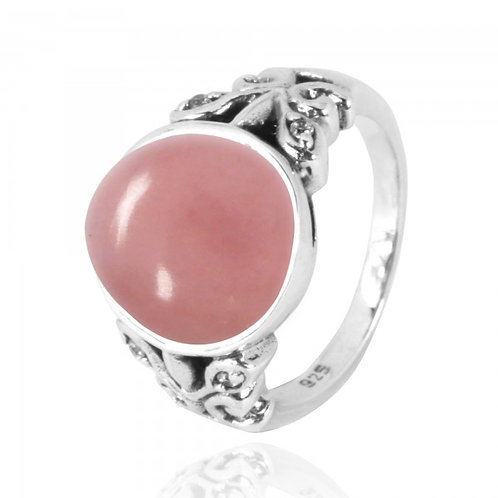 [NRB5096-PPKOP-WHCZ] Oval Peru pink opal Oxidized Silver Ring with Butterflies a