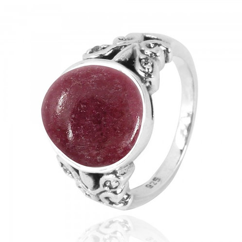 [NRB5096-RDN-WHCZ] Oval Rhodonite Oxidized Silver Ring with Butterflies and Whit