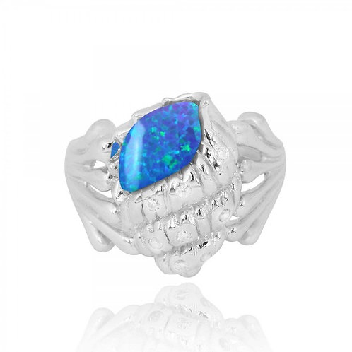 [NRB6919-BLOP-WHCZ] Sterling Silver Conch Shell Ring with Blue Opal