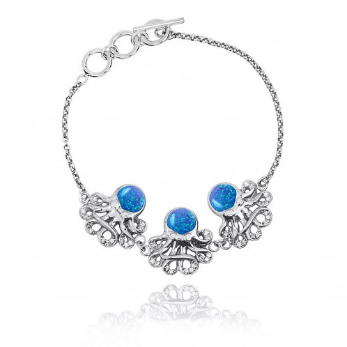 [NB1437-BLOP-WHCZ] Triple Octopus with Blue Opa and White CZ Sterling Silver Bra