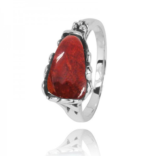 [NRB3344-SPC] Triangle Shape Sponge Coral Statement Ring