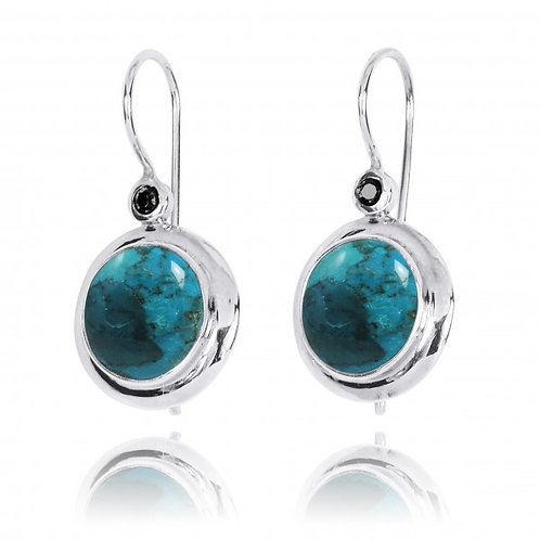 [NEA1824-GRTQ-BKSP] Round Shape Compressed Turquoise Lever Back Earrings