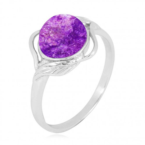 [NRB7481-SUG] Sterling Silver Sugilite Ring with Leaf Patterns