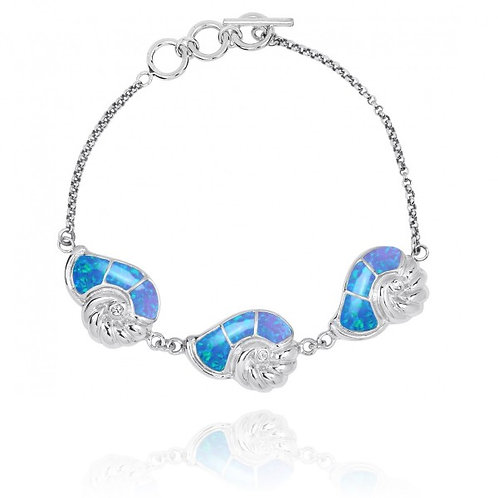 [NB1457-BLOP-CRS] Sterling Silver Seashell with Blue opal and Crystal Chain Brac