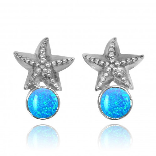 [NES3704-BLOP] Sterling Silver Starfish Stud Earrings with Round Blue Opal
