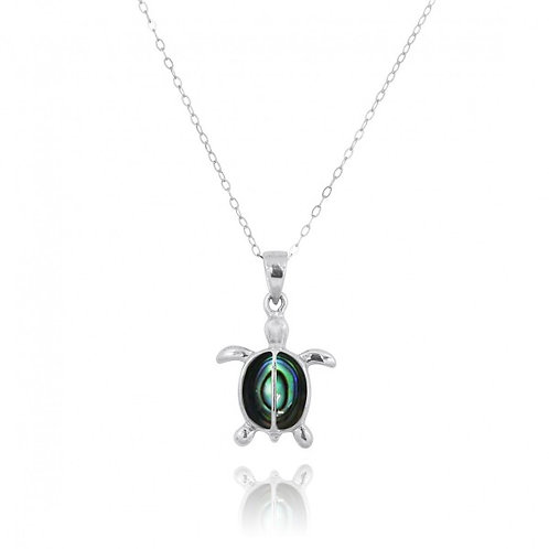 [NP10918-ABL] Sterling Silver Turtle with 2 Abalon shell Stones Pendant