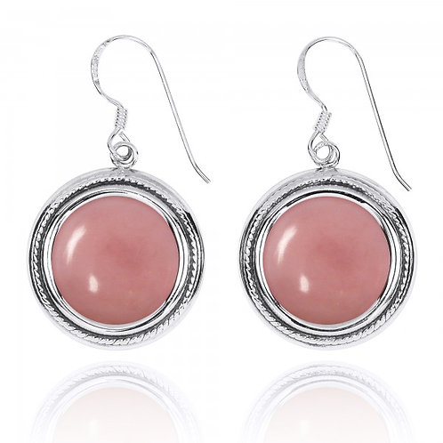 [NEA2714-PPKOP] Round Shape Peru pink opal French Wire Earrings