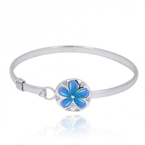 [NB1458-BLOP-WHCZ] Sterling Silver Silver Sand Dollar with Blue Opal and White C