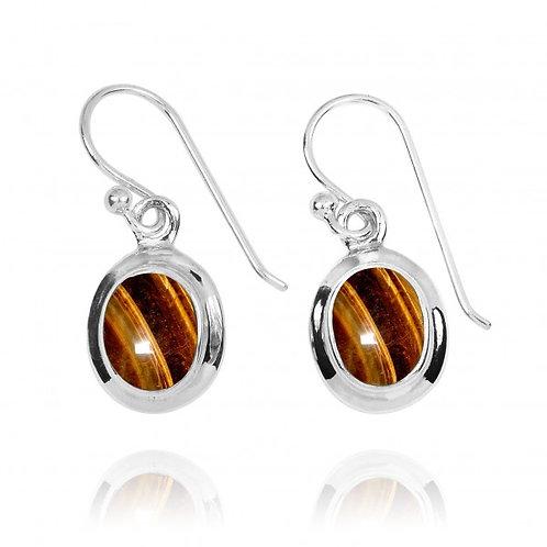 [NEA3272-BRTE] Oval Shape Brown Tiger Eye Drop Earrings