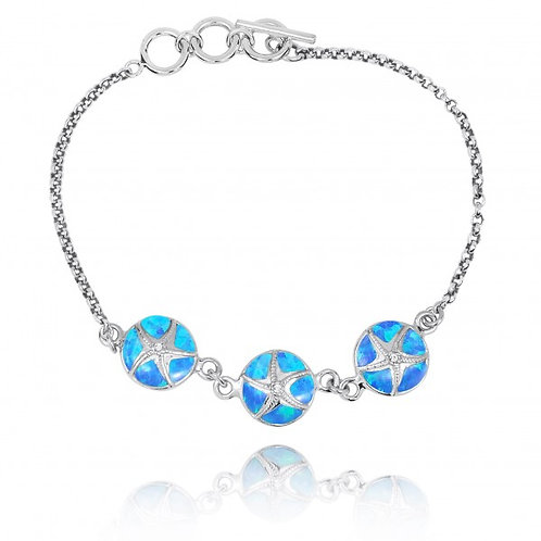 [NB1455-BLOP-CRS] Blue Opal with Sterling Silver Starfish Chain Bracelet