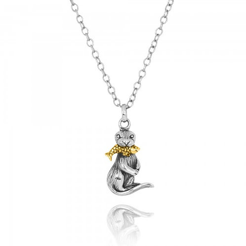 [NP12862-G] Otter Catching Golden Fish Oxidized Silver Pendant